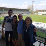 da sinistra: Alessandro Trolli (Rollo) degli Autogoal, Cristina Sambruna, Presidente Arianna, Giacomo Brega  e  Maria Cristina Rasparini, Pavia Calcio